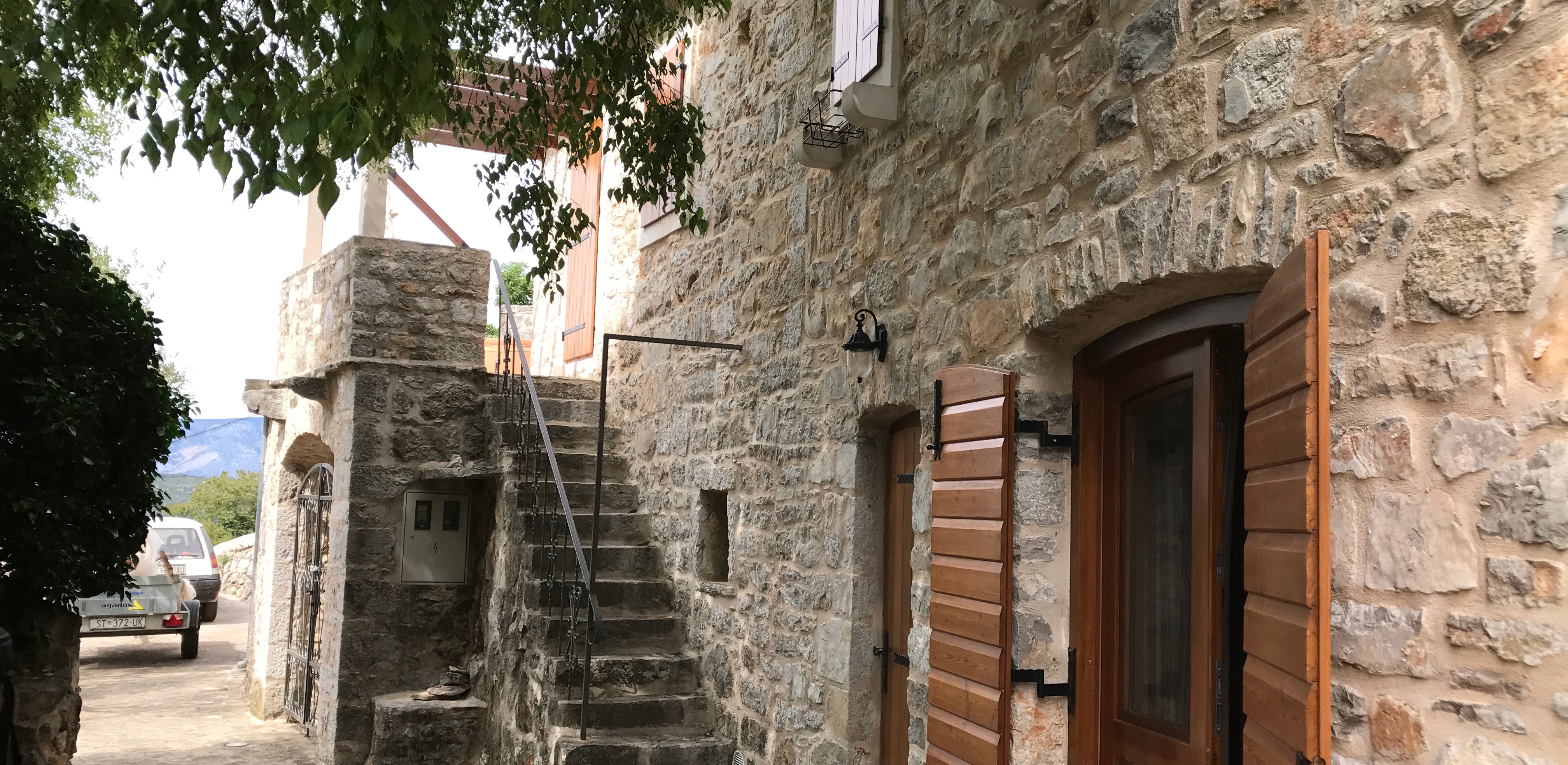 Restored stone house on Hvar Island in village with panoramic views
