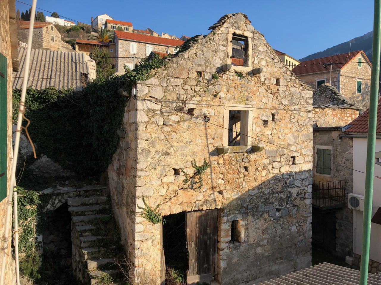 A traditional old stone house for sale on Hvar island requiring extensive renovation