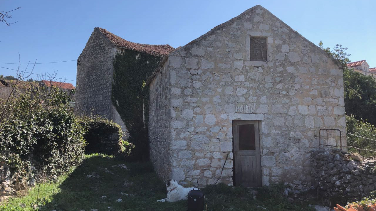 Stone ruin for sale on Hvar with views large garden and annexe